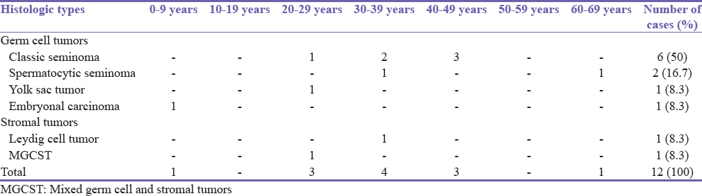 Table 2: Histologic types and age distribution of testicular tumors in Kano